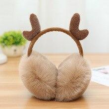 Christmas Antlers EarmuffsNew fur Elk Earmuff solid color headphones ladies earmuffs winter warm comfortable Deer Earwarmers