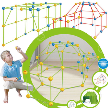 Child Cabin Construction Kit for Kids Boys Girls Construction Fort Building Kit with Rod Link Spheres and Tent FEA889