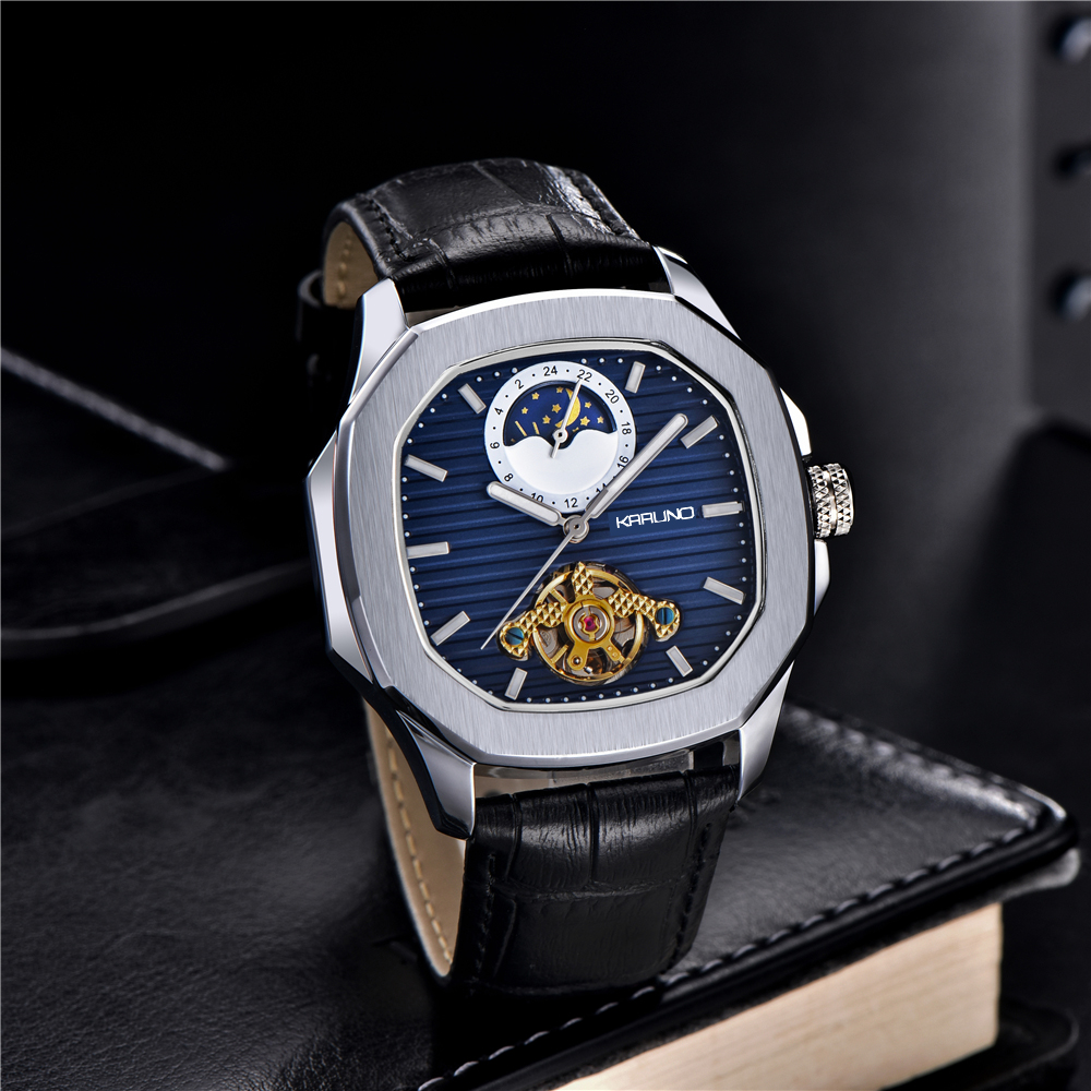 KARUNO Men Watches Mechanical Watch For Men's Fashion Automatic Watch Men Moon Phase Square Leather Watches Wristwatch Clock