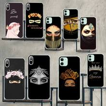 HPCHCJHM Arabic Hijab Girl Queen Crown DIY Luxury Phone Case for iPhone 11 pro XS MAX 8 7 6 6S Plus X 5S SE 2020 XR cover nbdruicai ottwn arabic hijab girl queen crown silicone phone case cover for iphone 11 pro xs max 8 7 6 6s plus x 5 5s se xr case