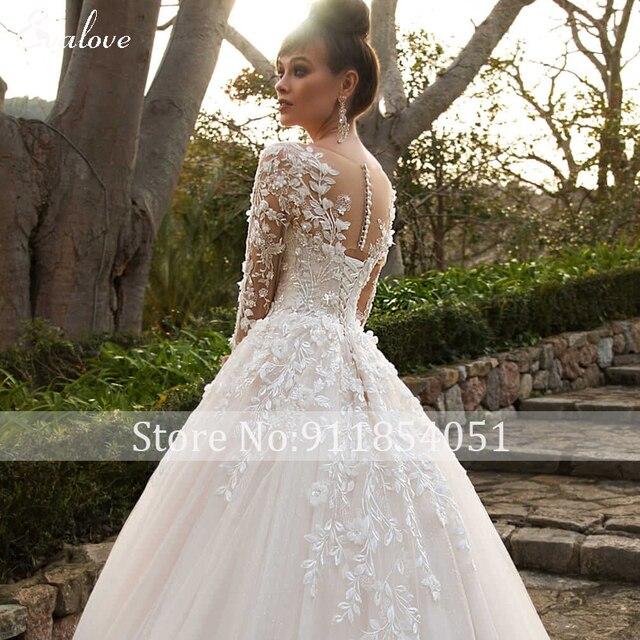 EVALOVE Elegant Scoop Neck Full Sleeve A-Line Wedding Dress Gorgeous Appliques Vintage Bridal Gown Custom Princess Wedding Gown 6