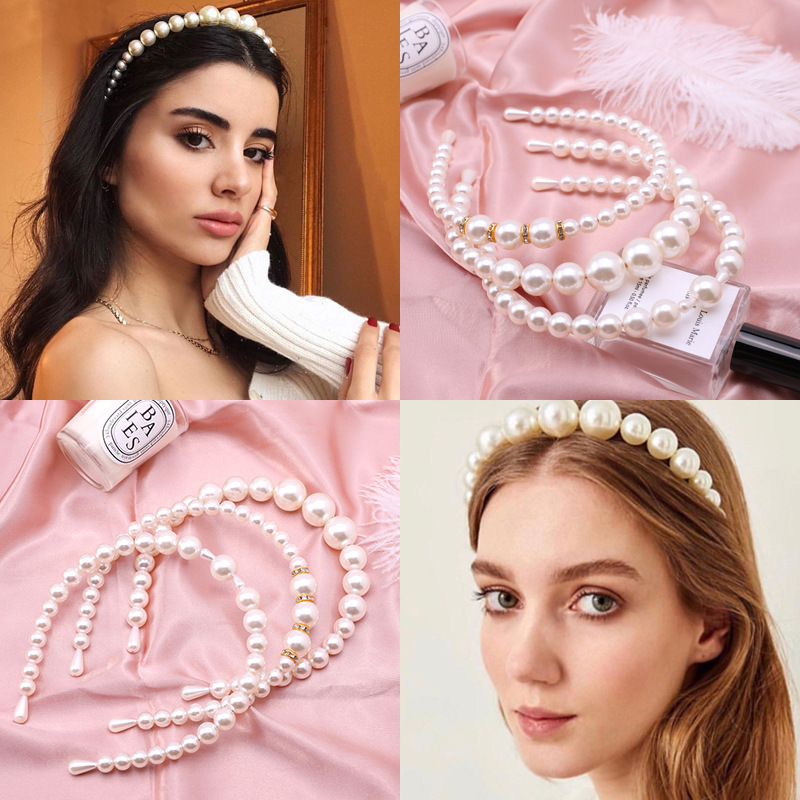1PC New Women Elegant Pearl Headbands Girls Sweet Hair Bands Hair Holder Hairbands Headwear Fashion Hair Accessories