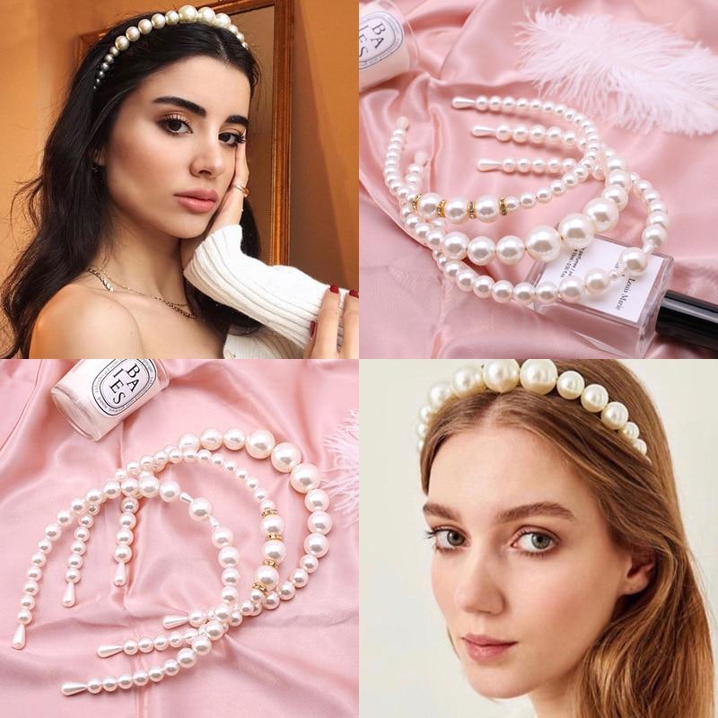 1PC New Women Elegant Pearl Headbands Girls Sweet Hair Bands Hair Holder Hairbands Headwear Fashion Hair Accessories
