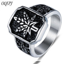 OQEPJ Vintage Simple Maple Leaf Rings Stainless Steel Men Biker Charm Ring High Quality Plant Jewelry Accessories Novel Gift