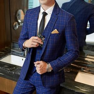Men Slim Fit Plaid Suit 2pc set Male Wedding Groom Blazers Pants Man Formal Business Work Wear Suits Costume Homme