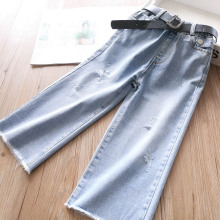 Spring of 2020 Girls Wear Belts with Rough Edges Wide Legs, Baby Jeans and Childrens Clothing Wholesale