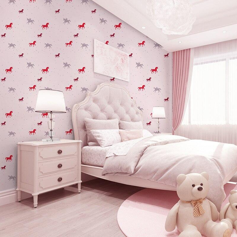 Детская комната обои спальни нетканые обои теплые девушки и мальчики мультфильм обои вращающийся Троян