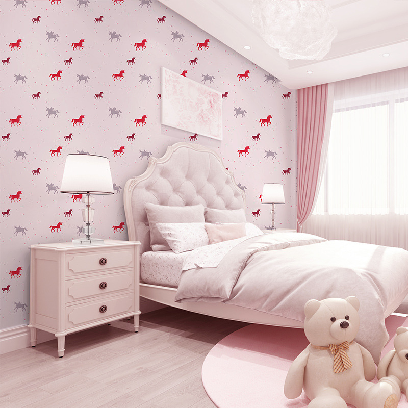 Children Room Wallpaper Bedroom Non-woven Wallpaper Warm GIRL'S And BOY'S Cartoon Wallpaper Rotating Trojan