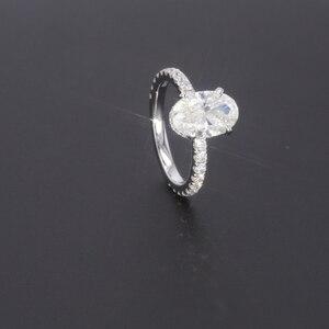 Image 2 - Starszuan Gioiello 14K DEF taglio ovale 8*10 millimetri 3ct moissanite test positivo VVS fantasia anello di fidanzamento per donna