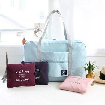 Large Capacity Waterproof Nylon Travel Bags Folding Duffle Organizer Packing Cubes Luggage Girl Weekend Bag Suitcase Organizer