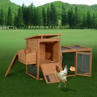 """【USA Warehouse】75"""" Wooden Hen House Backyard Chicken Coop with Outdoor Run and Nesting Box"""