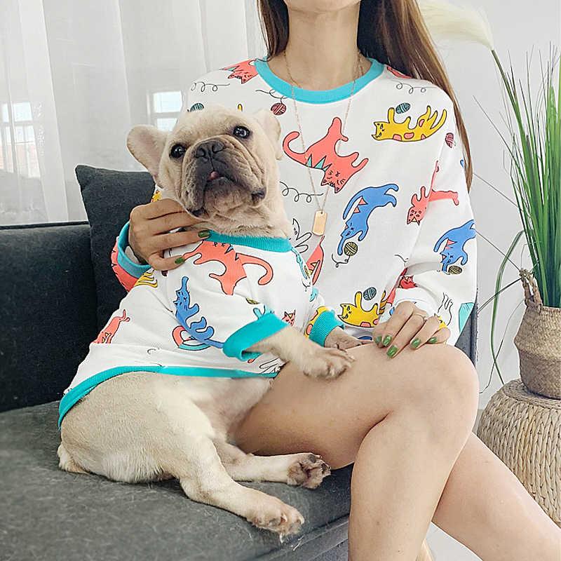 Moda Francese Bulldog per I Cani Domestici Corrispondenza Dei Vestiti Del Fumetto Vestiti Del Cane Del Gatto Pet Abbigliamento per Cani Ropa Perro