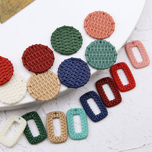 hot sale 2019 imitation woven rattan round rectangular hollow resin statement pendant earrings for women diy jewelry accessories