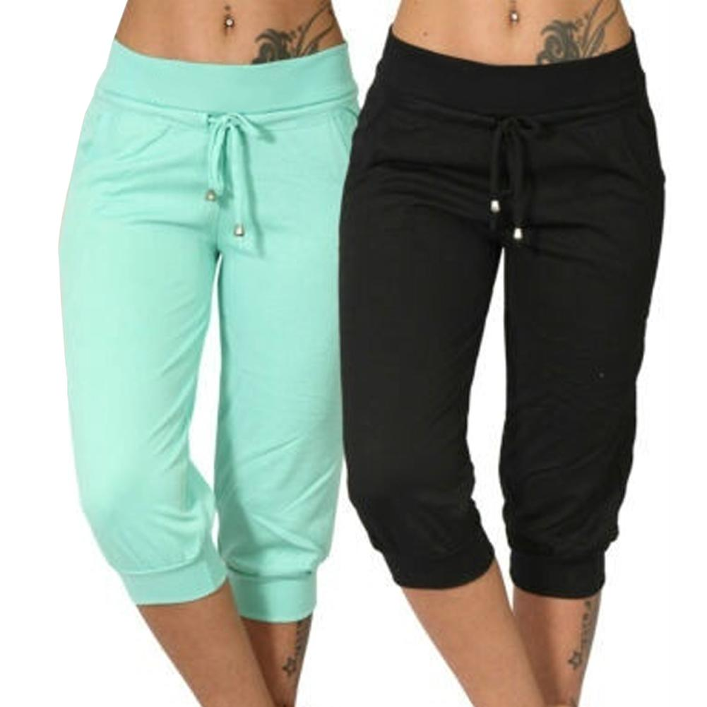 Women Casual Solid Color Low Rise Drawstring Pockets Sports Capri Pants Shorts