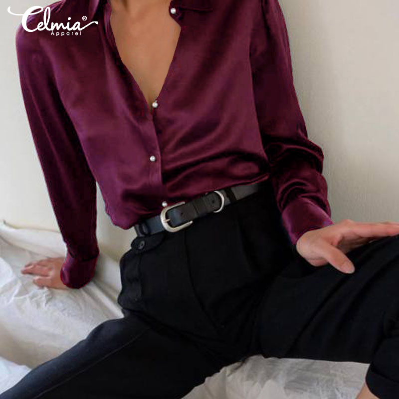 Celmia 2019 Autumn Women Fashion Long Sleeves Satin Blouse Vintage Button Down Lapel Neck Street Shirts Elegant OL Silk Tops 5XL