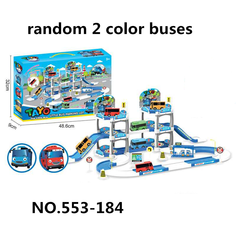 Korean Tayo The Little Bus Children Assembled Parking Lot Track Racing Model Toy Oyuncak Araba Bus Station With 2 Tayo Car