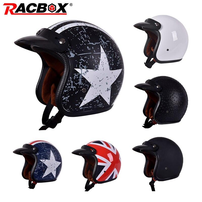 Модный мотоциклетный шлем унисекс из искусственной кожи 3/4, мотоциклетный шлем с открытым лицом, Высококачественный винтажный мотоциклетн...