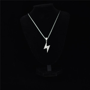 Image 5 - Gold Silver Color Iced Bolt Necklaces Fashion  AAA Zircon Pendant Lightning Pendants Jewelry Mens Hiphop Chains Drop Shipping