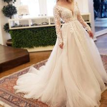 Sexy Women Simple Vintage Ball Gown Wedding Dress Plus Size Bride Robe De Mariee 2019