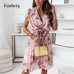 Women Elegant Floral Print Ruffle Dress Summer Ladies Sexy V-Neck Party Dress Casual Short Sleeve A-Line Pleated Dress Vestidos