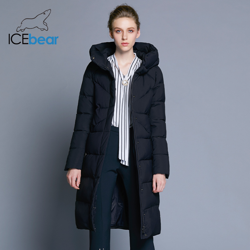 ICEbear 2019 nieuwe hoge kwaliteit vrouwen winter jas eenvoudige manchet ontwerp winddicht warme vrouwelijke jassen fashion brand parka GWD18150-in Parka's van Dames Kleding op  Groep 1