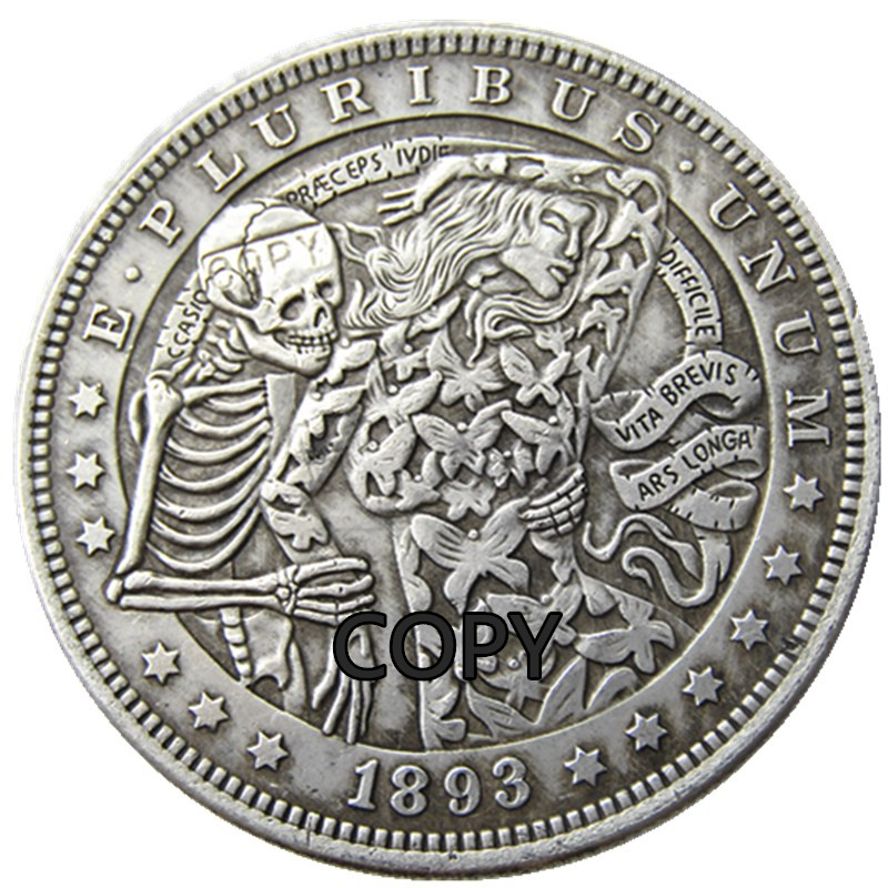 HB(63)US Hobo 1893 Morgan Dollar Skull Zombie Skeleton Creative Copy Coins