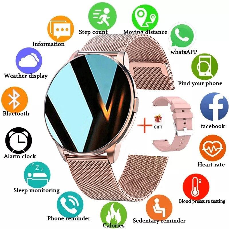 ליגע 2021 חדש אופנה גבירותיי חכם שעון מלא מסך מגע IP68 עמיד למים לב קצב ניטור נשים של שעונים עבור אנדרואיד IOS