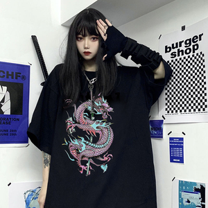 Woman t-shirts harajuku dragon kpop ropa mujer y2k tops korean style oversized t shirt clothes aesthetic vintage femme t-shirts