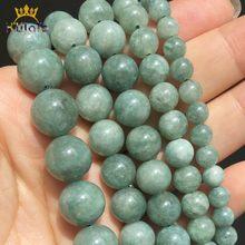 Cuentas de piedra de jade birmanas, cuentas espaciadoras sueltas naturales para fabricación de joyas, cuentas redondas, accesorios de pulsera DIY de 15 pulgadas, 6, 8, 10 y 12mm