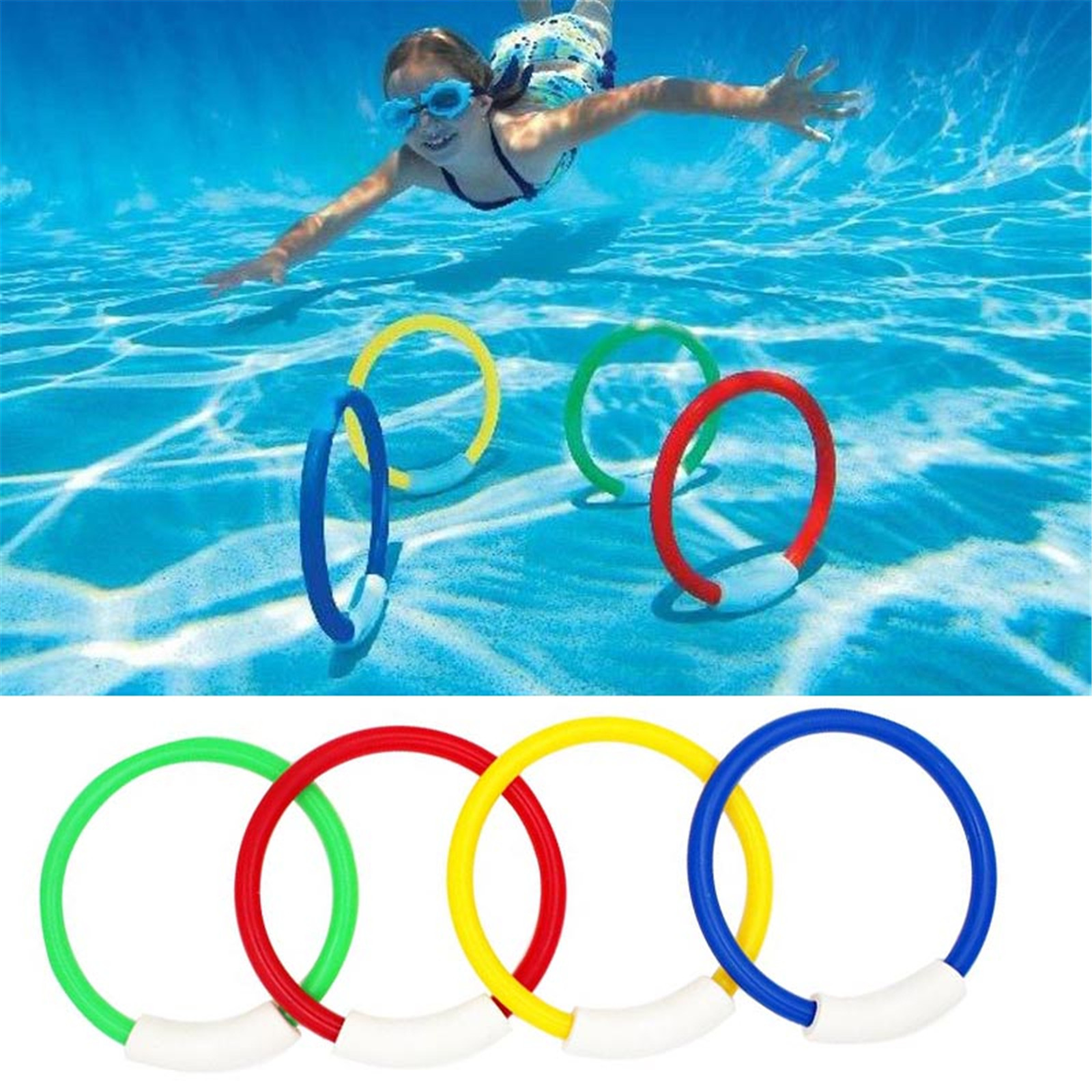 4PCS Diving Game Toys Set Rings Dive Underwater Funny Swimming Pool Gift for Kids Child Summer Throwing Toy Pool Accessories