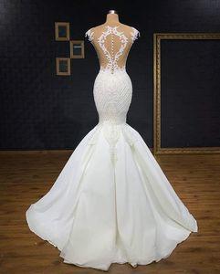 Image 2 - マーメイドウェディングドレスレースアップバックの花嫁衣装とロングトレインショートスリーブブライダルドレス vestido デ noiva