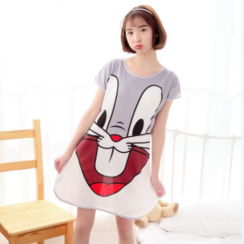 Pajamas Nightgown Qmilch Nightgown Cute Cartoon Short Sleeve Nightgown Hot Selling Home Wear