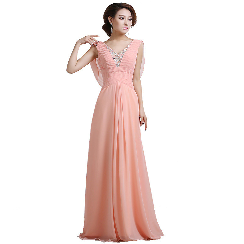 Graceful Pink Long Evening Dresses Prom Dresses Zipper Back Sheer Neck Beaded Formal Evening Gowns Special Occasion Dresses