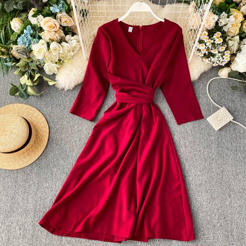 Women Autumn 2019 New V-neck High Waist Thin Retro A-line Dress Lady Solid Color Casual  Vestidos De Fiesta K076
