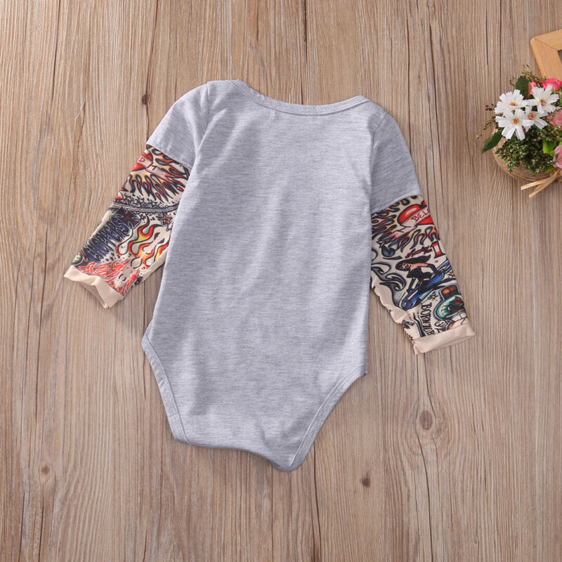 Infant Baby Girl Boy Kid Tattoo Print Long Sleevess Romper Bodysuit Clothes Tops