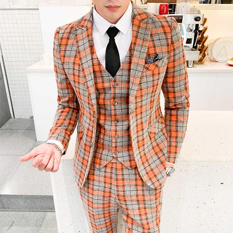 メンズスーツスリーピーススーツのジャケットとパンツ + ベスト orange 格子スリムスーツスーツ英国スタイルハイエンドカスタムプラスサイズブレザー