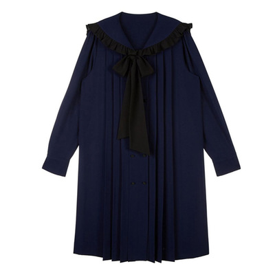 Image 3 - Navy blue tie bow dress for women DEL LUNA Hotel same IU Lee Ji Eun Long and Loose Japanese Dresses   Autumn and summer-in Dresses from Mother & Kids