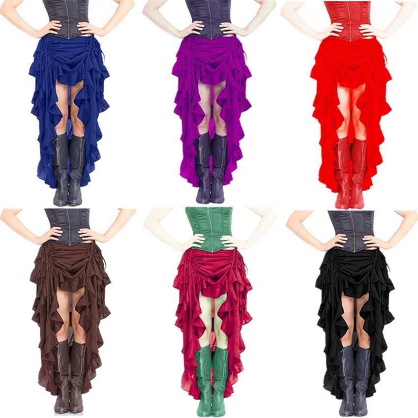 7Colors Woman Medieval Steampunk Skirts Renaissance Vintage Irregular Viking Pirate Cosplay Costumes Halloween Dance Wear
