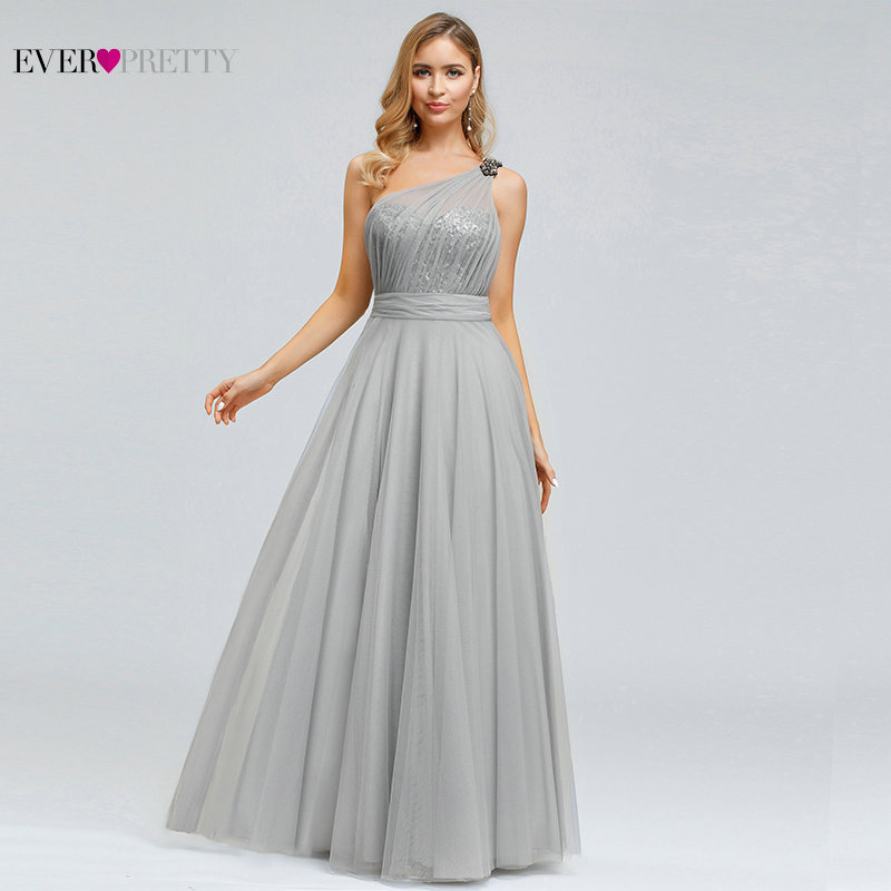 Sexy A Line Evening Dresses For Women Ever Pretty Elegant One Shoulder Sleeveless Backless Sequined Long Formal Party Gowns 2020