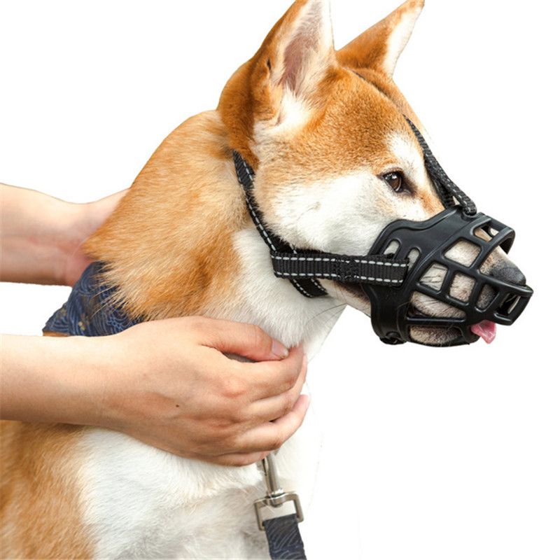 Pet Prevent Biting Barking Dog Muzzle Soft Rubber Safety Dog Mouth Mask Adjustable Ventilated Pet Anti Bite Bark Cover Masks