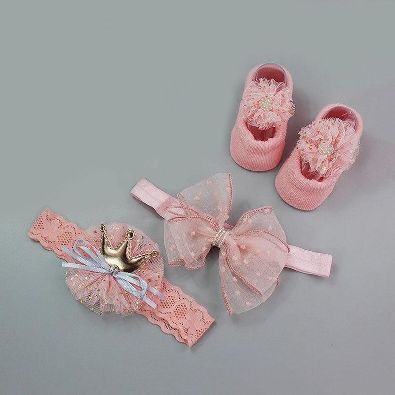 3 пары/Лот, кружевные носки для новорожденных с цветами, хлопковые нескользящие детские носки с бантом, носки для маленьких девочек на весну ...