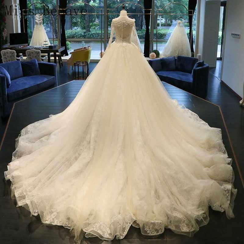 DD JYOY יוקרה חתונה שמלת שרוול ארוך סקופ צוואר תחרה כלה שמלת חתונה עם ארוך רכבת חזרה נדלן תמונה