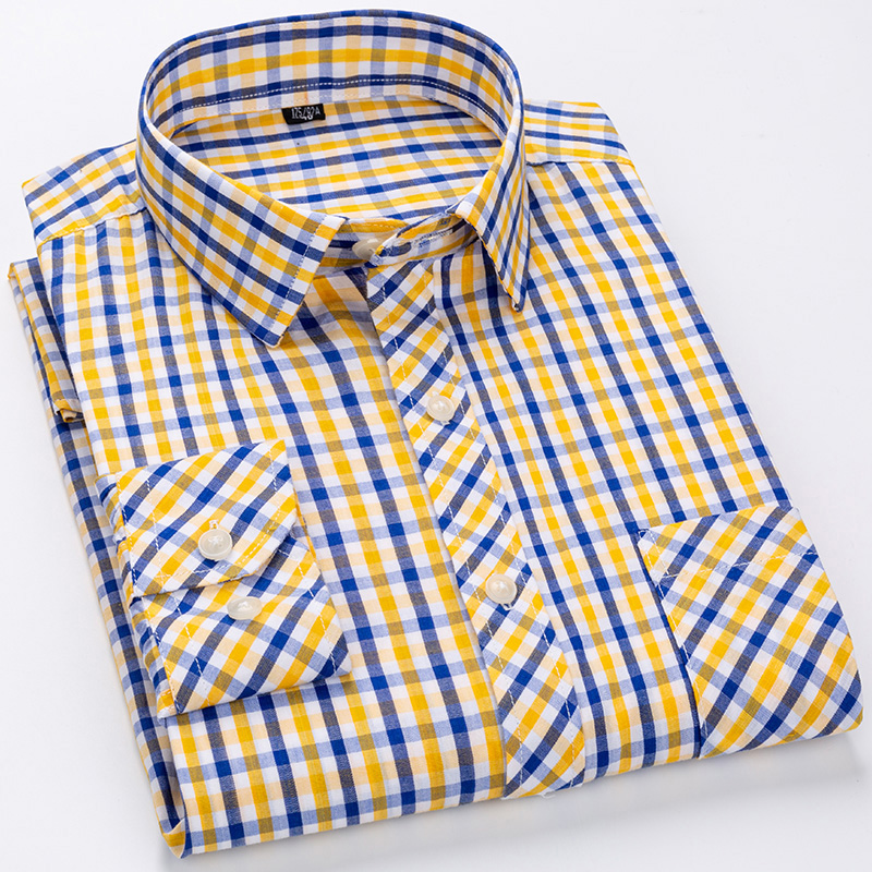 100% Cotton Long-sleeved Plaid Shirts for Men Fashion Regular Fit Anti Wrinkle Comfortable Mens Checkered Casual Shirts 13colors