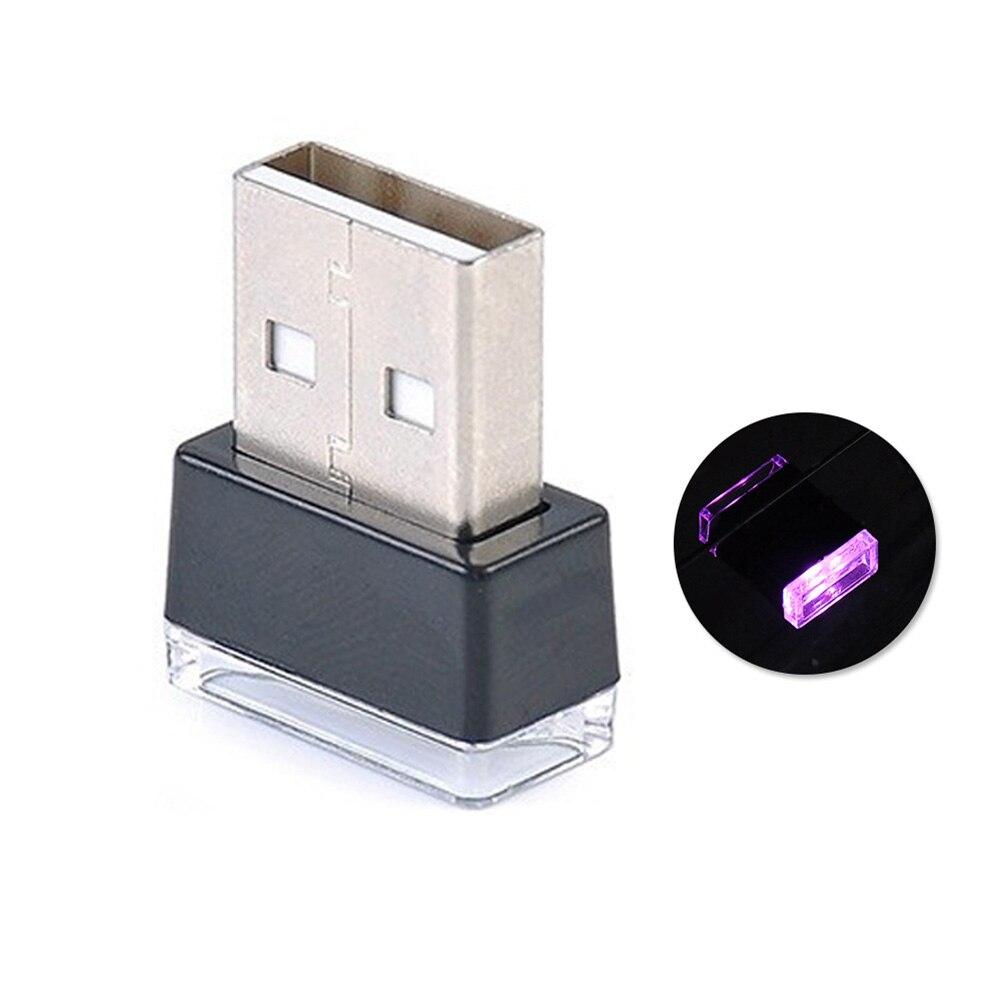 Портативный USB СВЕТОДИОДНЫЙ ночной Светильник для салона автомобиля с внешней атмосферой, декоративная лампа - Название цвета: Pink Purple