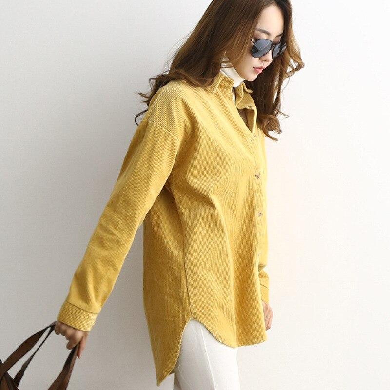 Coréen velours côtelé Blouse chemise de grande taille décontracté lâche longue chemise Blouse femmes chemises Dames hauts Dames Blouses Lange Mouwen