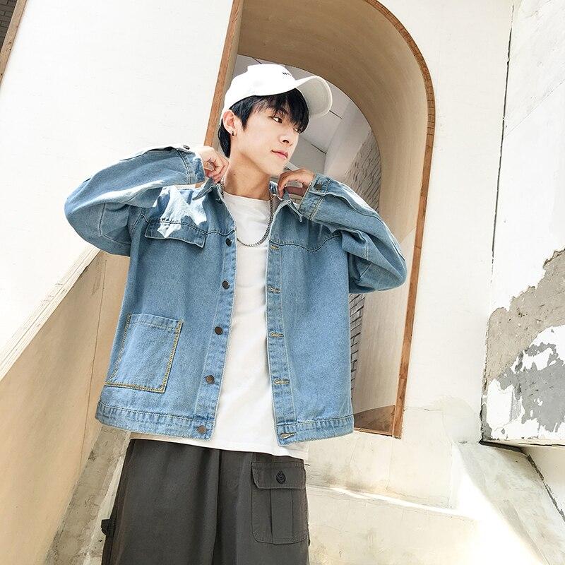 Осенняя джинсовая куртка, мужская Тонкая модная потертая однотонная Повседневная джинсовая куртка, Мужская Уличная куртка в стиле хип-хоп