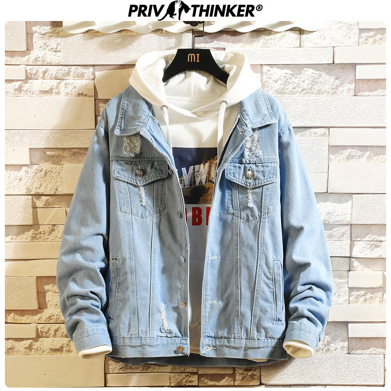 Privathinker 2019 Solid Casual Slim Mens Denim Jacket Hip Hop 5XL Bomber Jackets Men High Quality Cowboy Male Autumn Jacket Tops