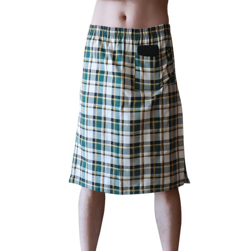 Adisputent 2020 Summer New Men's Casual Shorts Plaid Nightdress Cotton Casual Home Bath Skirt Breathable Sweat-absorbent Pajamas