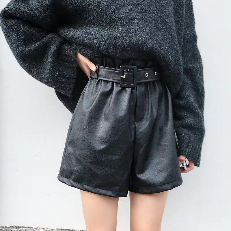 Shorts Women PU Leather Simple Sashes Retro All-match Slim High Waist Womens Korean Style Elastic Chic Female Trendy Leisure New