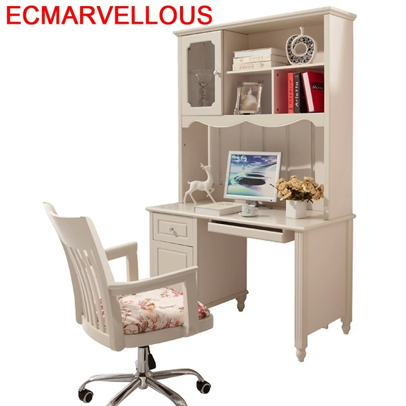 Meuble Support Ordinateur Portable Escritorio Mueble Portatil Shabby Chic Wooden Desk Laptop Stand Mesa Table With Bookcase
